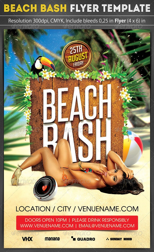 Beach Bash Flyer - Clubs & Parties Events