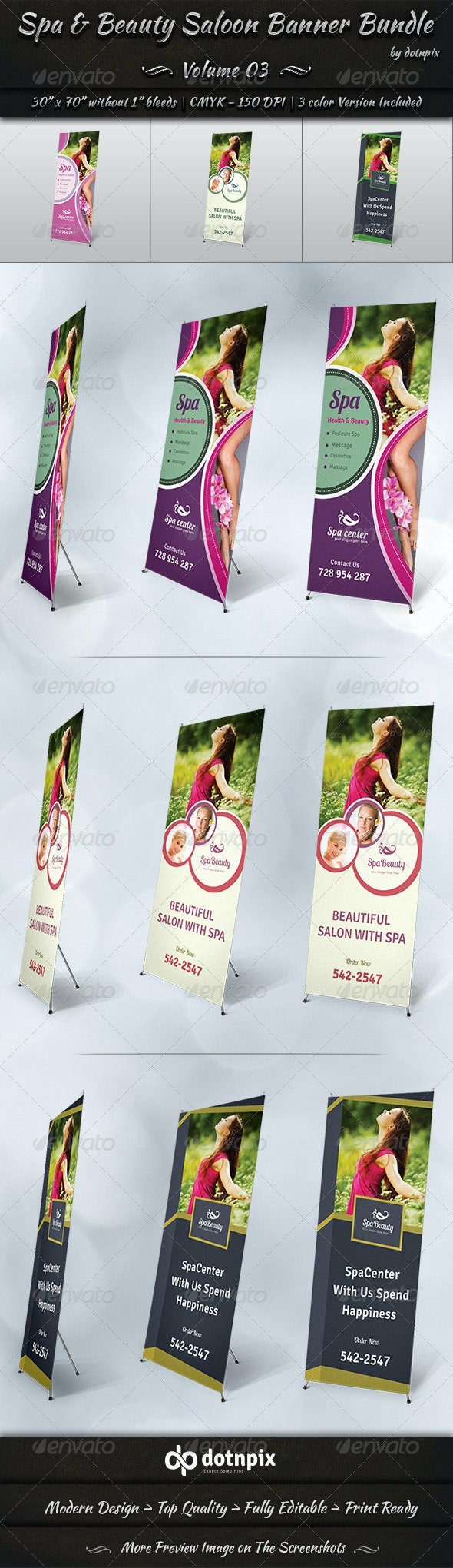 Spa & Beauty Saloon Banner Bundle | Volume 3 - Signage Print Templates