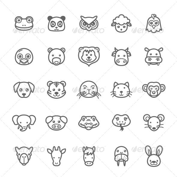 25 Outline Stroke Animal Icons