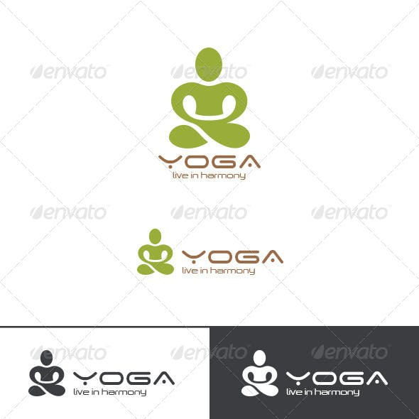 SPA Yoga Logo Lotus Pose Abstract