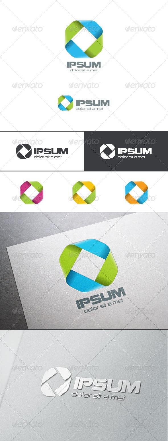 Square Rhombus Ribbon Infinity Loop Logo - Abstract Logo Templates