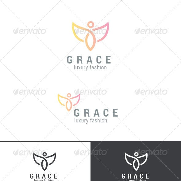 Graceful Flying Character Abstract Logo