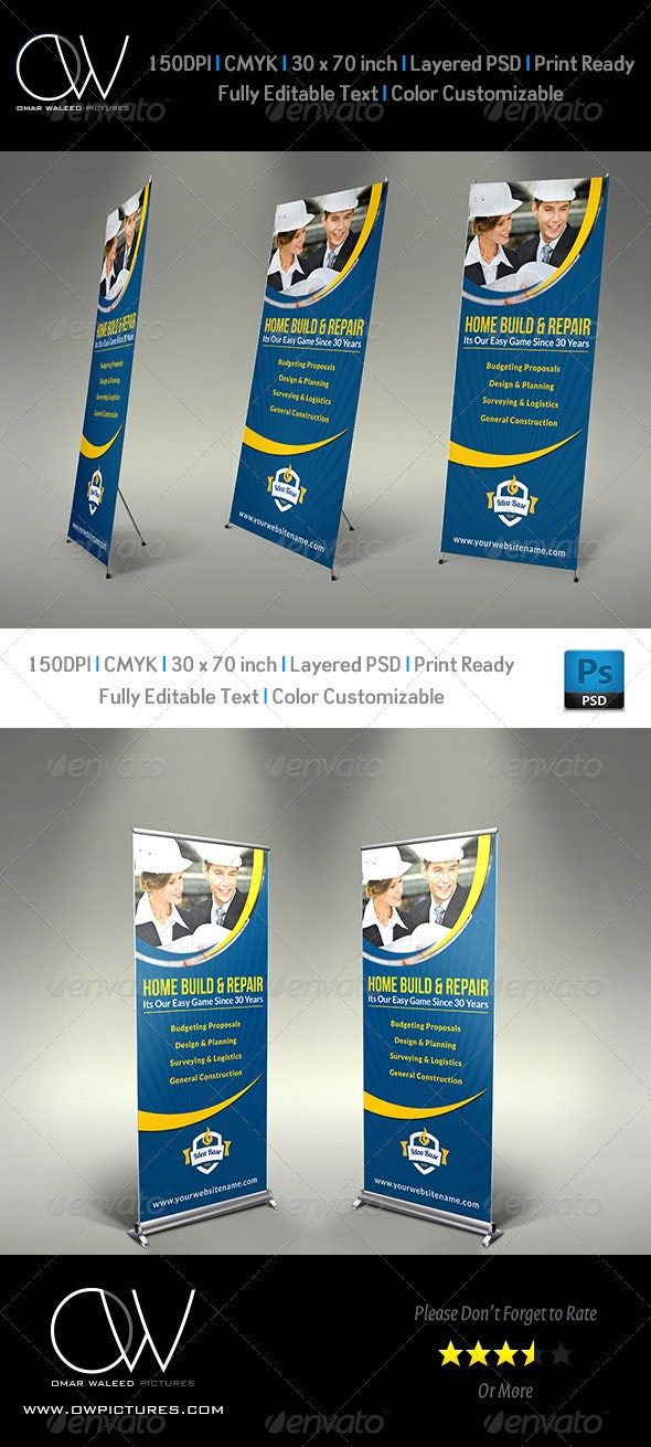 Construction Business Signage Rollup Template Vol3 - Signage Print Templates