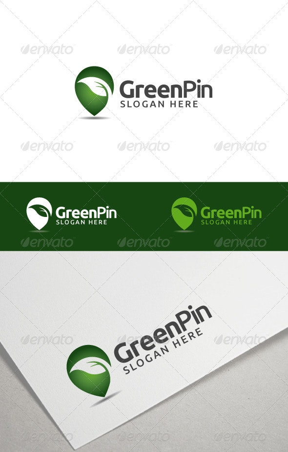 Green Pin - Nature Logo Templates