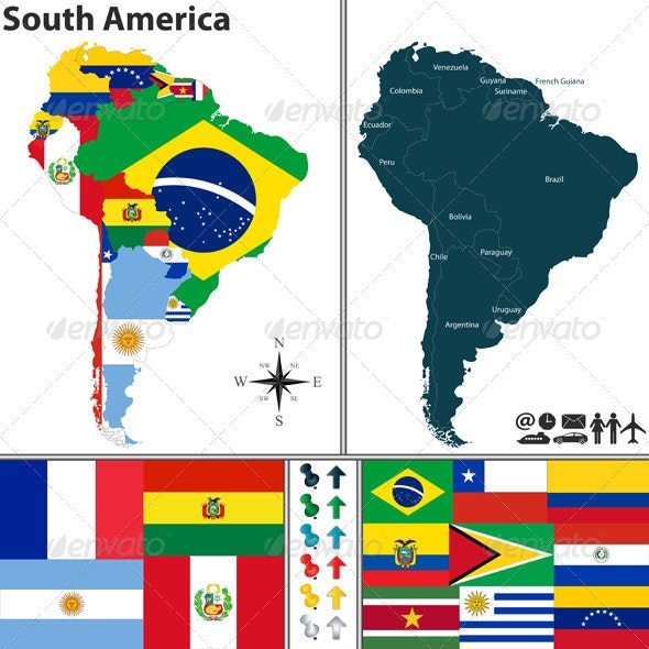 Map of South America - Travel Conceptual