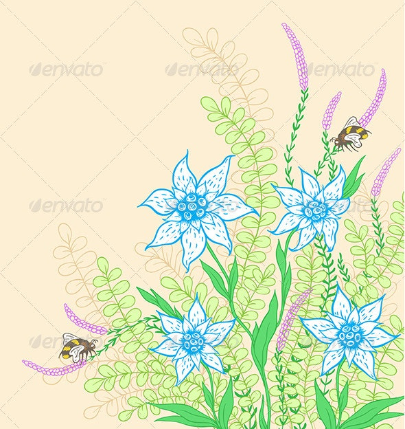 Background with Flowers and Green Leaves - Flowers & Plants Nature