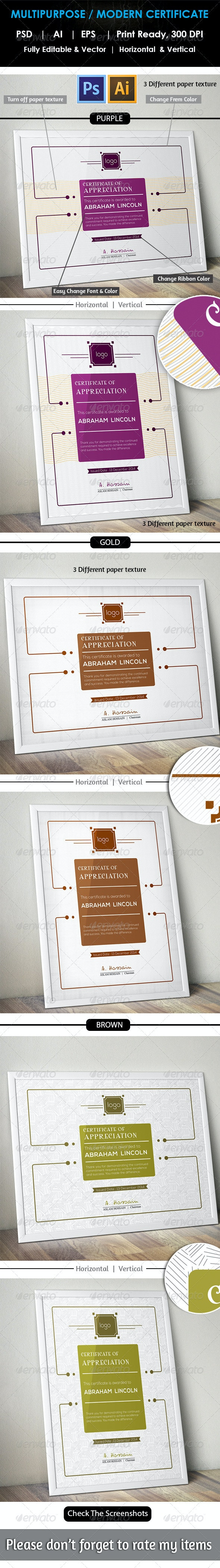 Modern Multipurpose Certificate GD011 - Certificates Stationery
