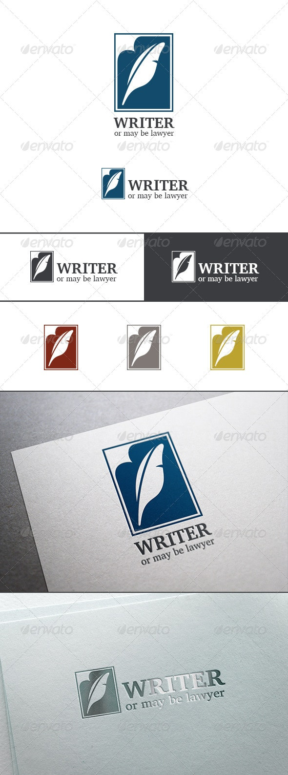Lawyer Writer Feather Silhouette Logo Abstract - Objects Logo Templates