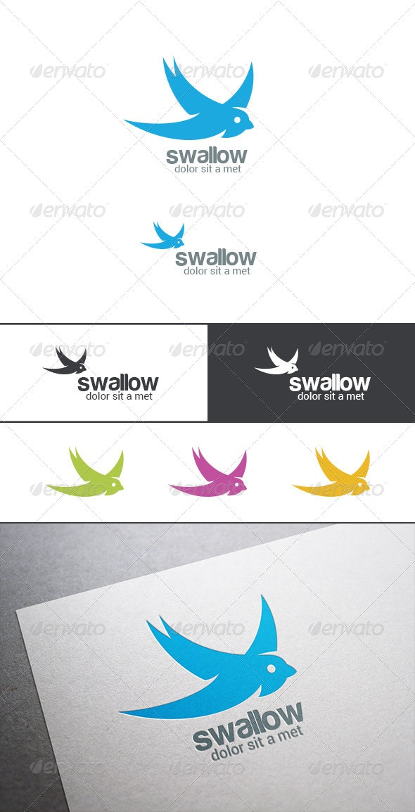Logo Swallow Bird Silhouette Abstract - Animals Logo Templates
