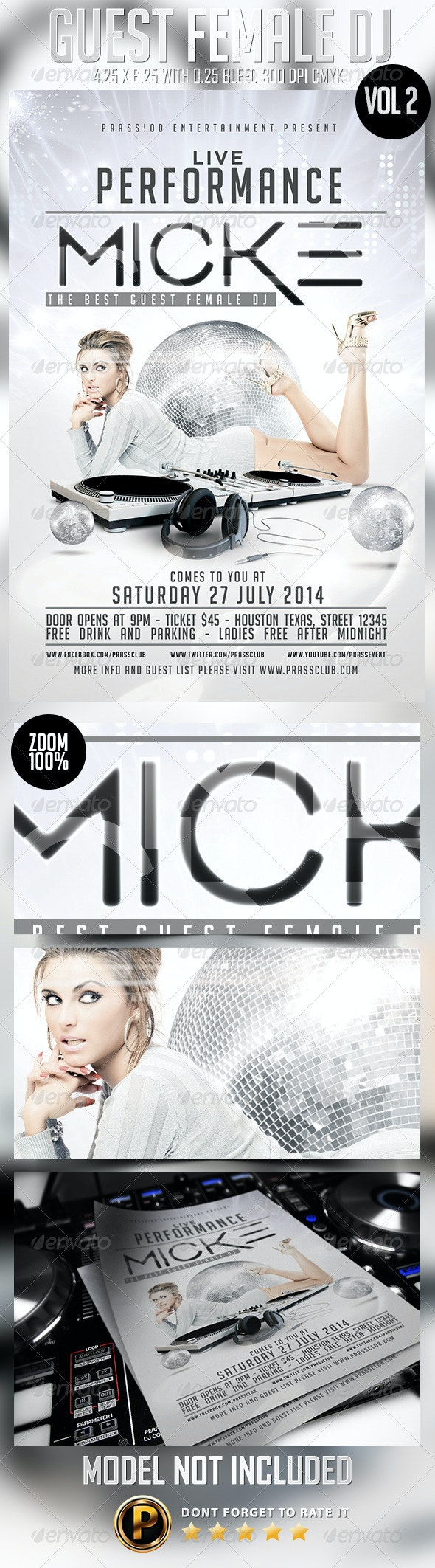 Guest Female DJ Flyer Template Vol 2 - Clubs & Parties Events