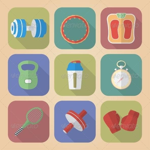 Set of Fitnes Icons - Web Elements Vectors