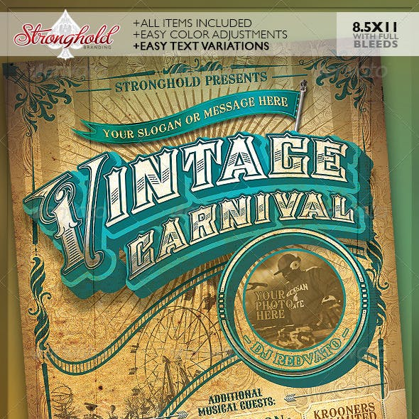 Vintage Carnival Circus Event Flyer Template