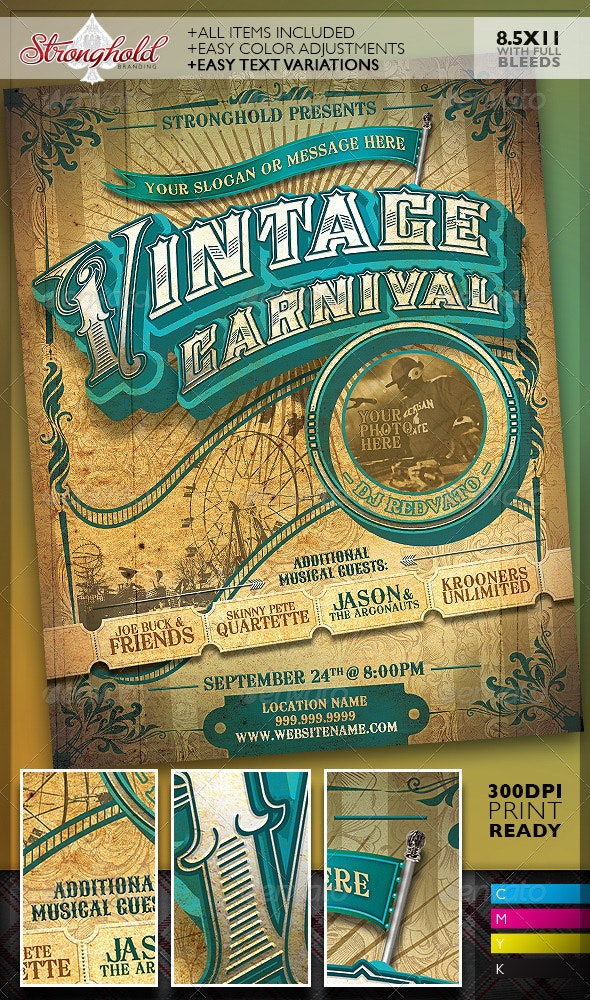 Vintage Carnival Circus Event Flyer Template - Clubs & Parties Events