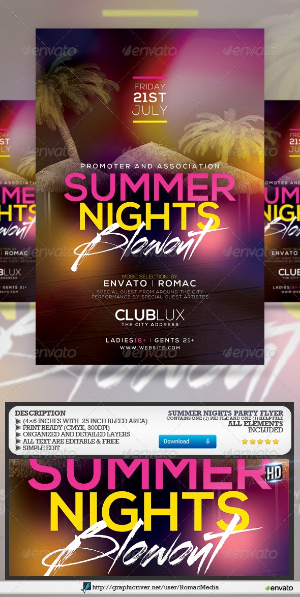 Summer Nights Party Flyer  - Clubs & Parties Events