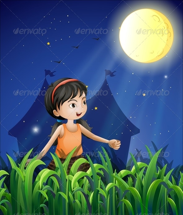 Young Girl Moon Watching - People Characters