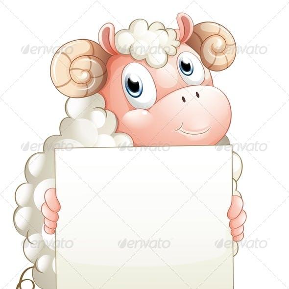 Ram Holding an Empty Sign