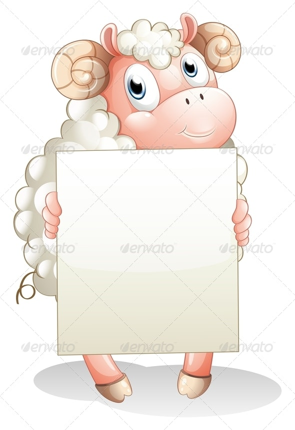 Ram Holding an Empty Sign - Animals Characters