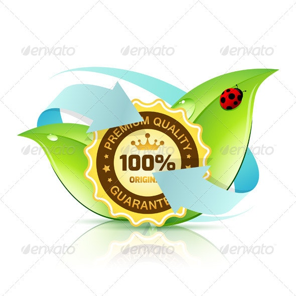 Premium Quality Label with Leaves - Organic Objects Objects