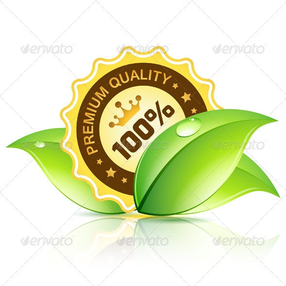 Premium Quality Label with Leaves - Flowers & Plants Nature