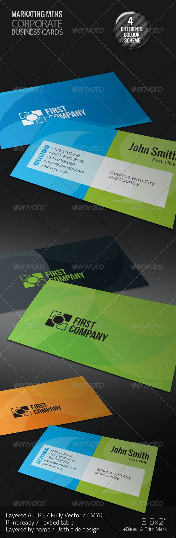 First Company Corporate Business Cards - Corporate Business Cards