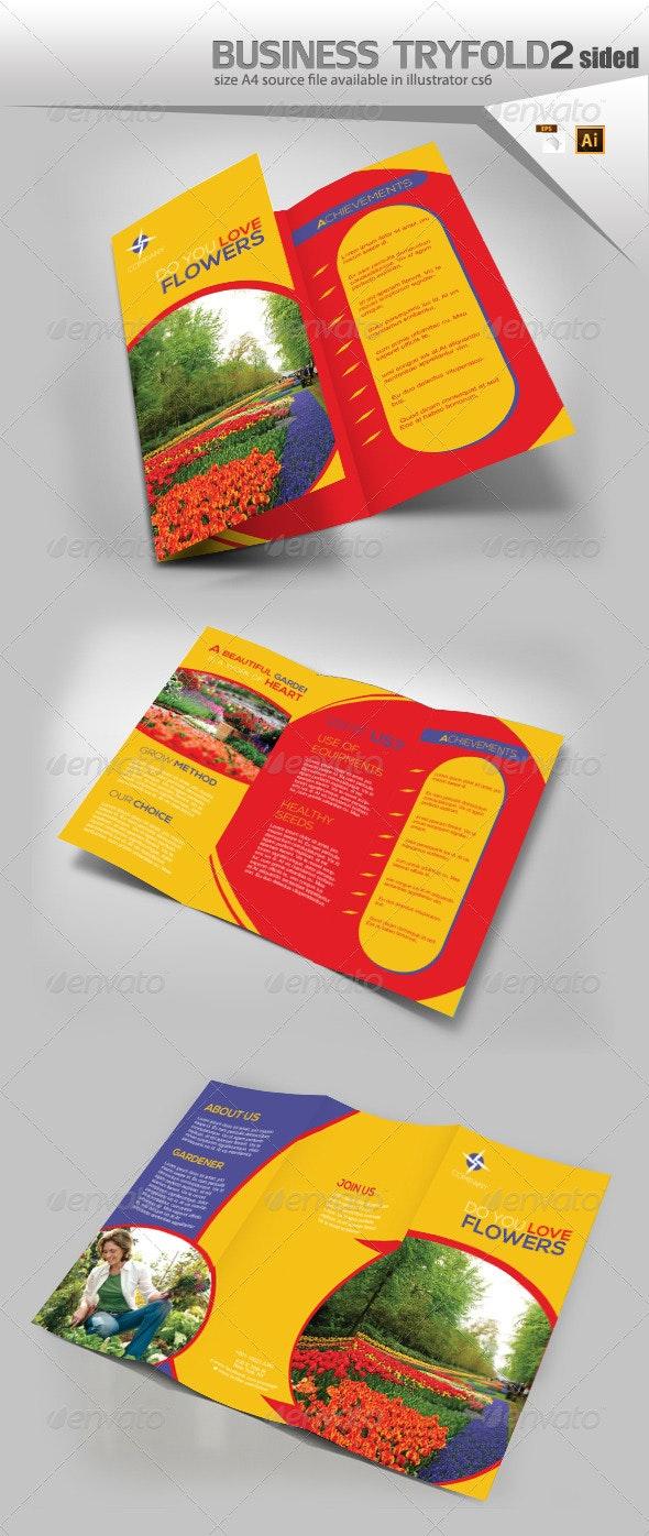 Flower Trifold Business Brochure - Brochures Print Templates
