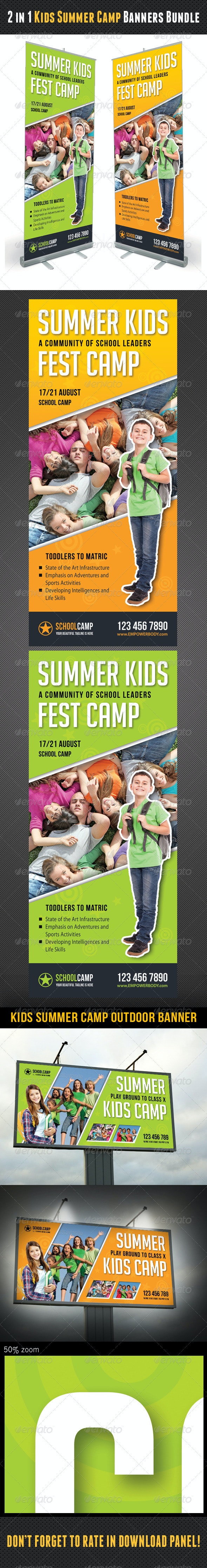 2 in 1 Kids Summer Camp Banners Bundle - Signage Print Templates