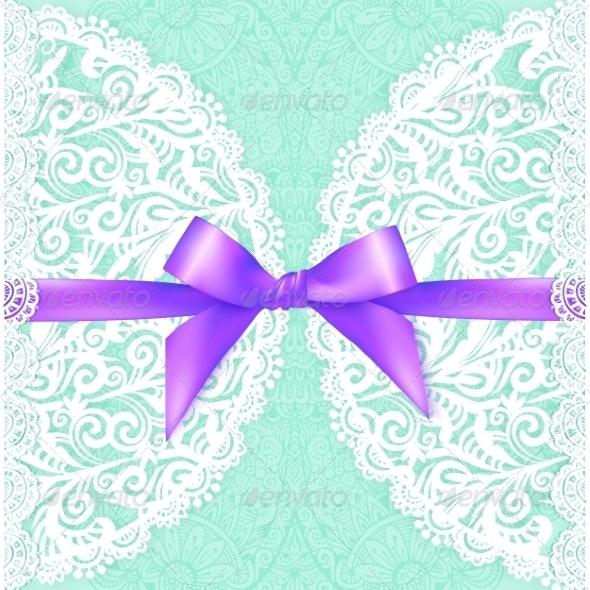 Green Lacy Wedding Card Template - Weddings Seasons/Holidays