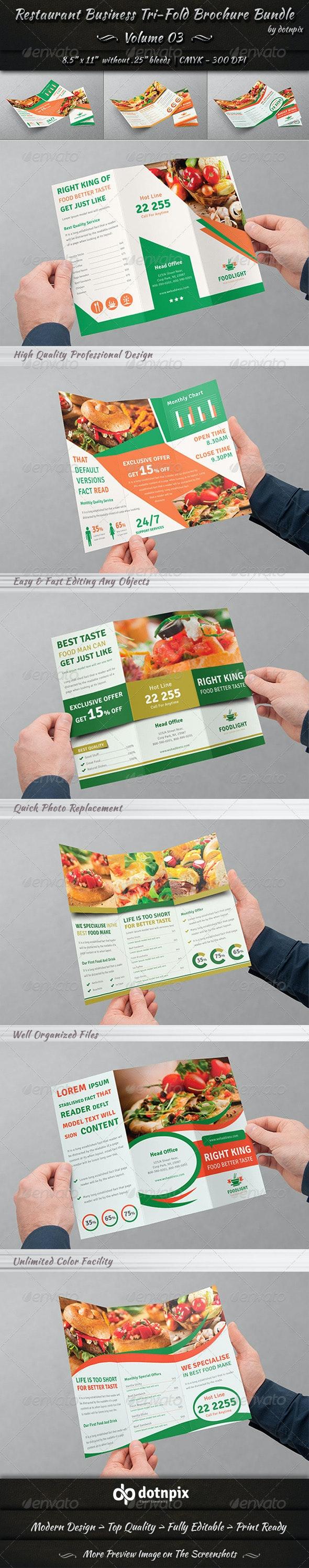 Restaurant Tri-fold Brochure Bundle | Volume 3 - Corporate Brochures