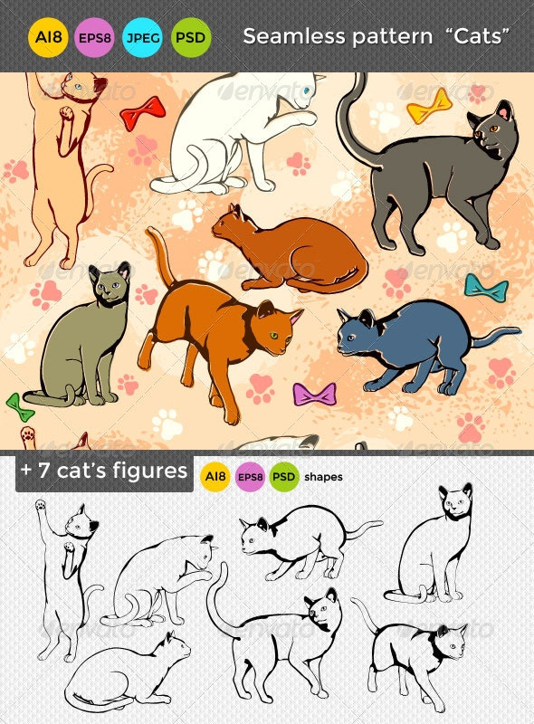 Seamless Cats Pattern  - Animals Characters
