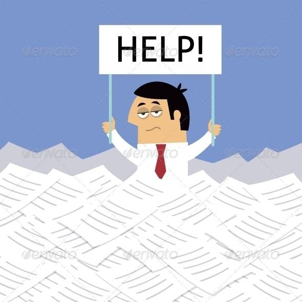 Businessman Under Papers - Concepts Business