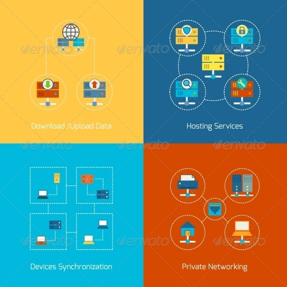 Hosting Flat Icons - Industries Business