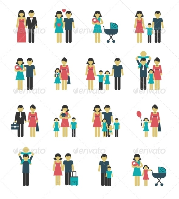 Family Icons Set - People Characters