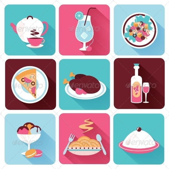 Restaurant Food Icons Flat - Food Objects