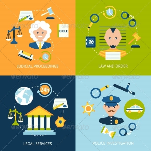 Law Flat Icons Set - Industries Business