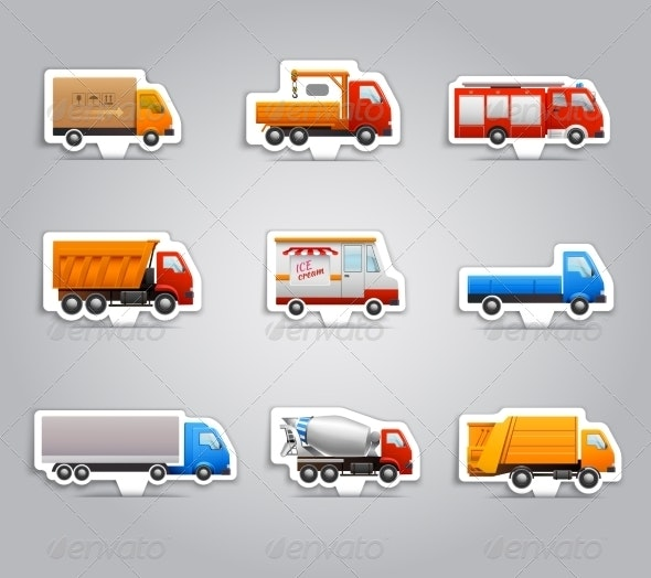 Truck Paper Stickers - Travel Conceptual