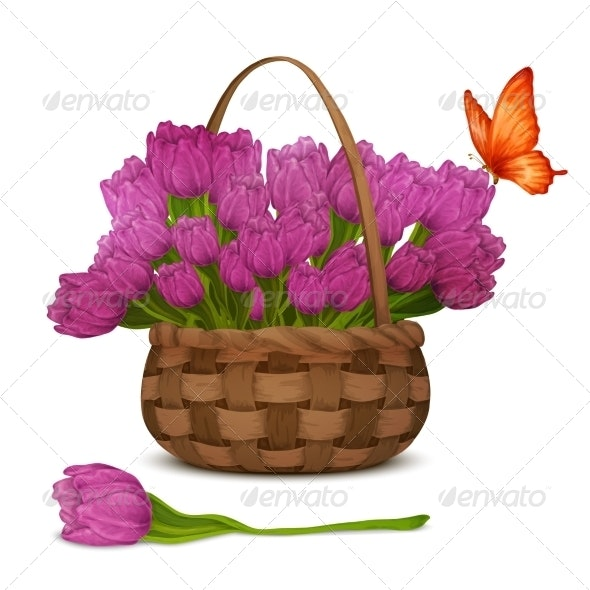 Tulips in Basket - Flowers & Plants Nature