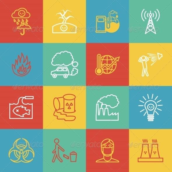 Pollution Icons Set - Web Elements Vectors