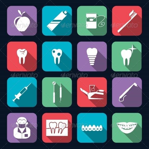 Dental Icons Flat