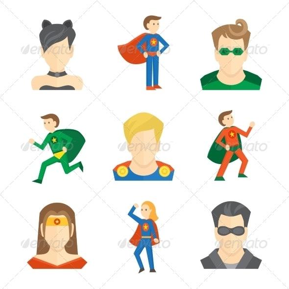 Superhero Icon Flat - People Characters