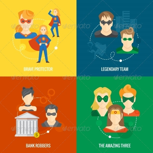 Superhero Icon Flat Composition - People Characters