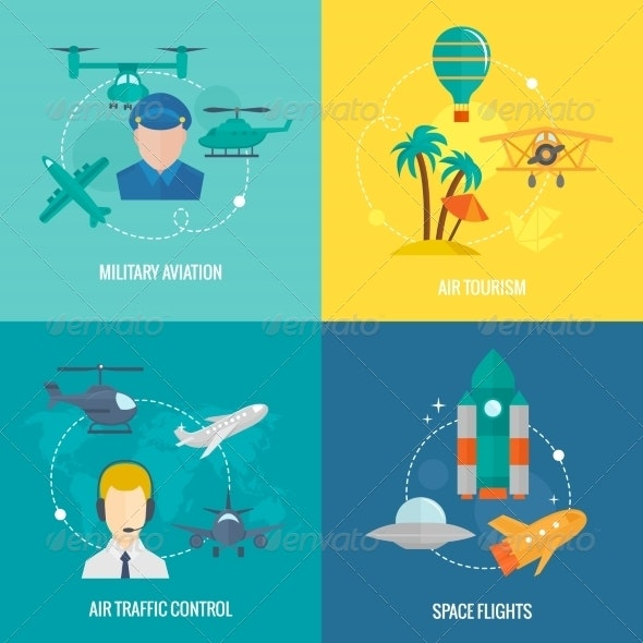 Aircraft Icons Set - Travel Conceptual