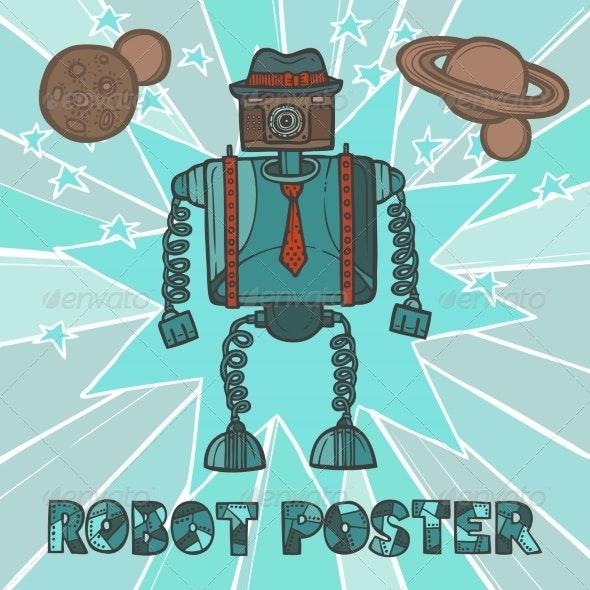 Hipster Robot Design - Retro Technology