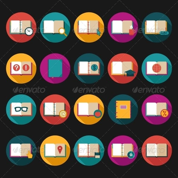 Books and Symbols Flat Icons Set