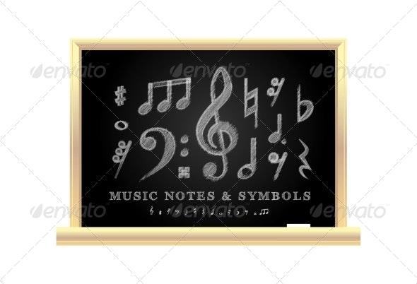 Handwritten Musical Notes - Backgrounds Decorative