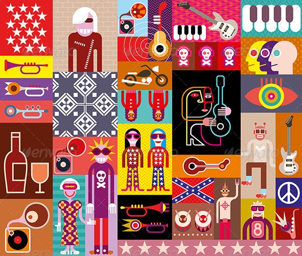Rock Music Collage - People Characters