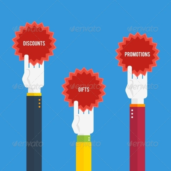 Hands Holding Stickers with Text - Web Elements Vectors