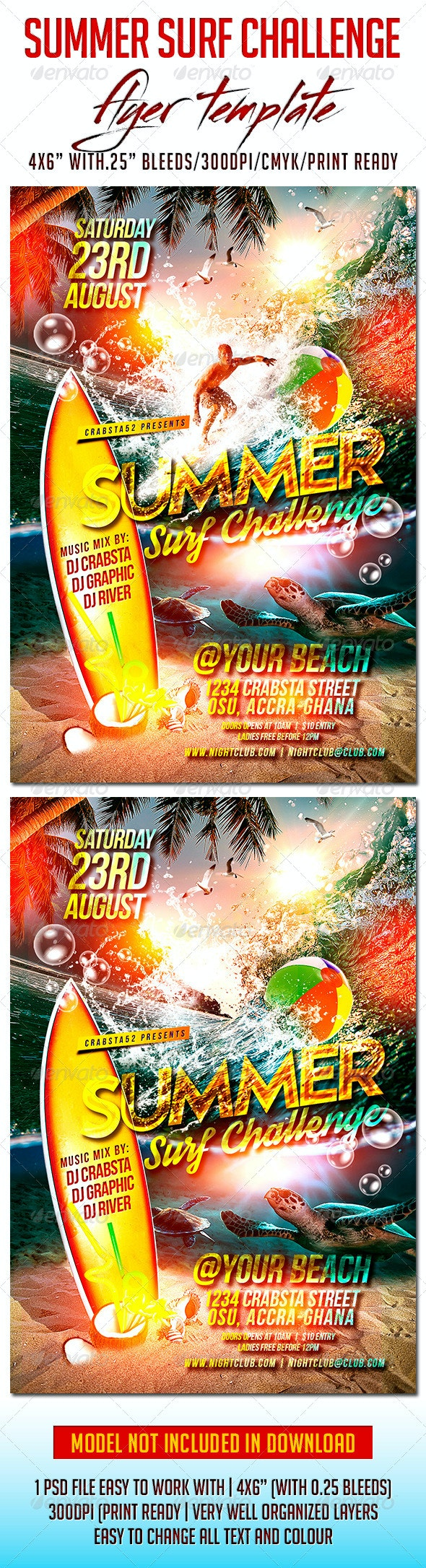 Summer Surf Challenge Flyer Template - Flyers Print Templates
