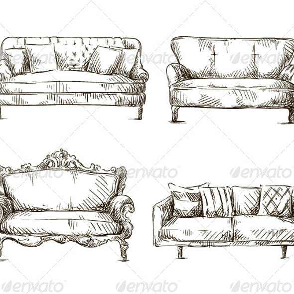 Set of Sofas Drawings Sketch Style