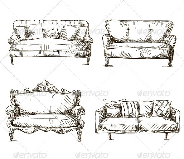 Set of Sofas Drawings Sketch Style - Man-made Objects Objects