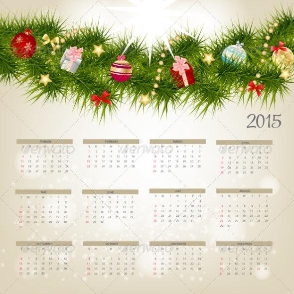 Vector Illustration. 2015 New Year Calendar - Christmas Seasons/Holidays